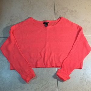 Forever 21 Crop Sweater Top Women's M Coral NWOT